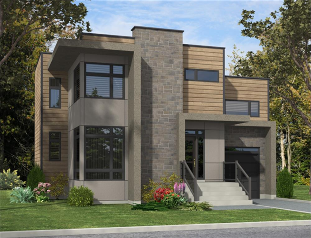 Front elevation of Contemporary home (ThePlanCollection: House Plan #158-1280)