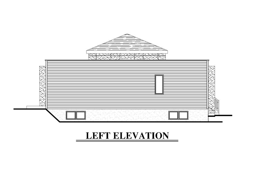 Home Plan Left Elevation of this 2-Bedroom,1236 Sq Ft Plan -158-1281