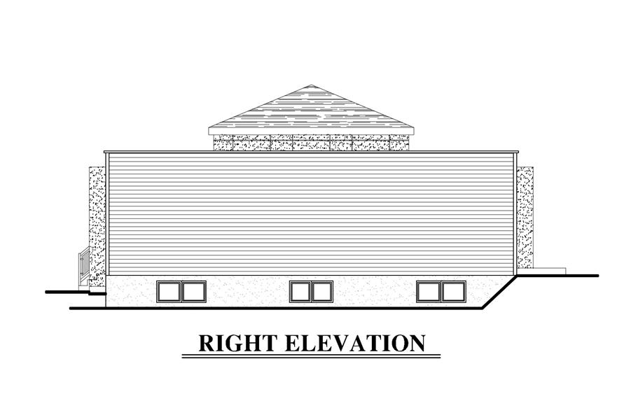 Home Plan Right Elevation of this 2-Bedroom,1236 Sq Ft Plan -158-1281