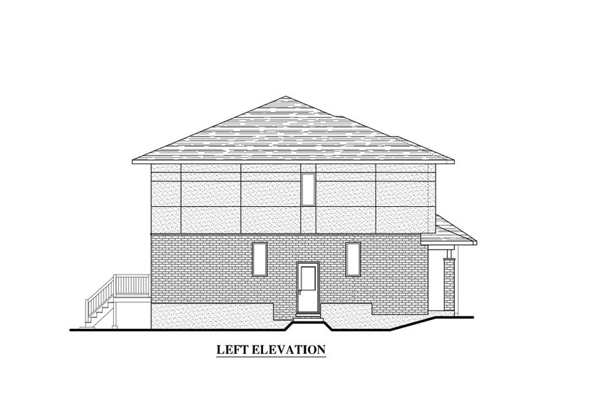 Home Plan Left Elevation of this 3-Bedroom,1497 Sq Ft Plan -158-1282