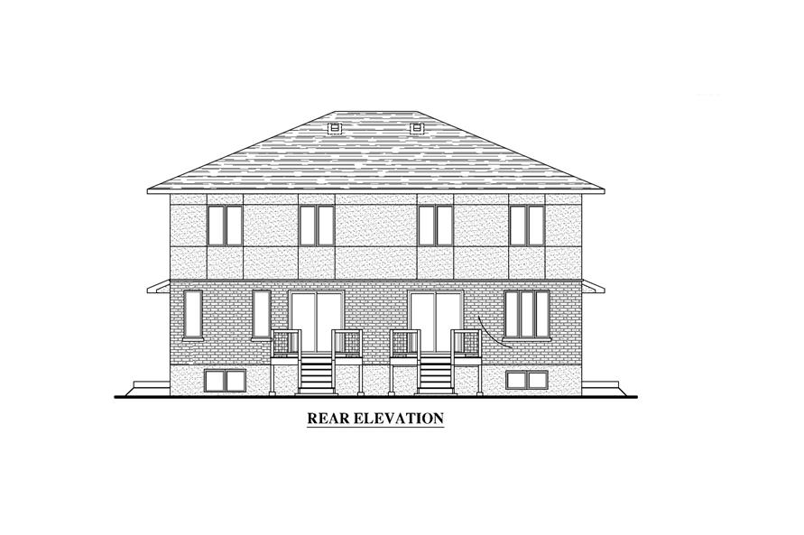 Home Plan Rear Elevation of this 3-Bedroom,1497 Sq Ft Plan -158-1282