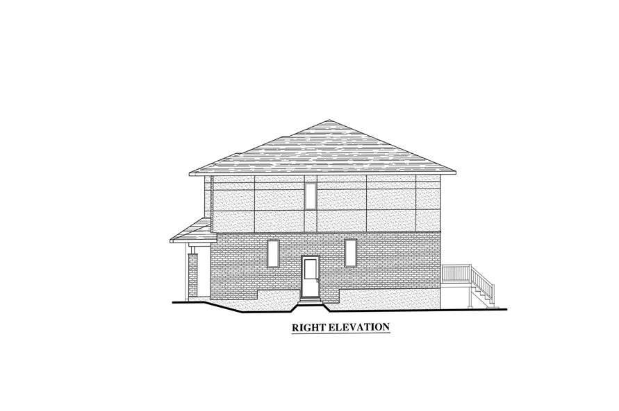 Home Plan Right Elevation of this 3-Bedroom,1497 Sq Ft Plan -158-1282