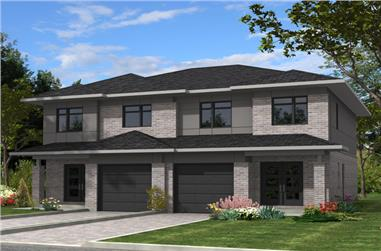 Front elevation of Contemporary home (ThePlanCollection: House Plan #158-1282)