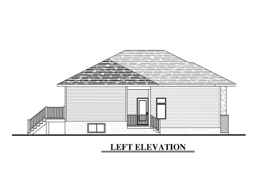 Home Plan Left Elevation of this 6-Bedroom,3318 Sq Ft Plan -158-1283