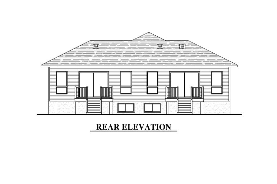 158-1283: Home Plan Rear Elevation