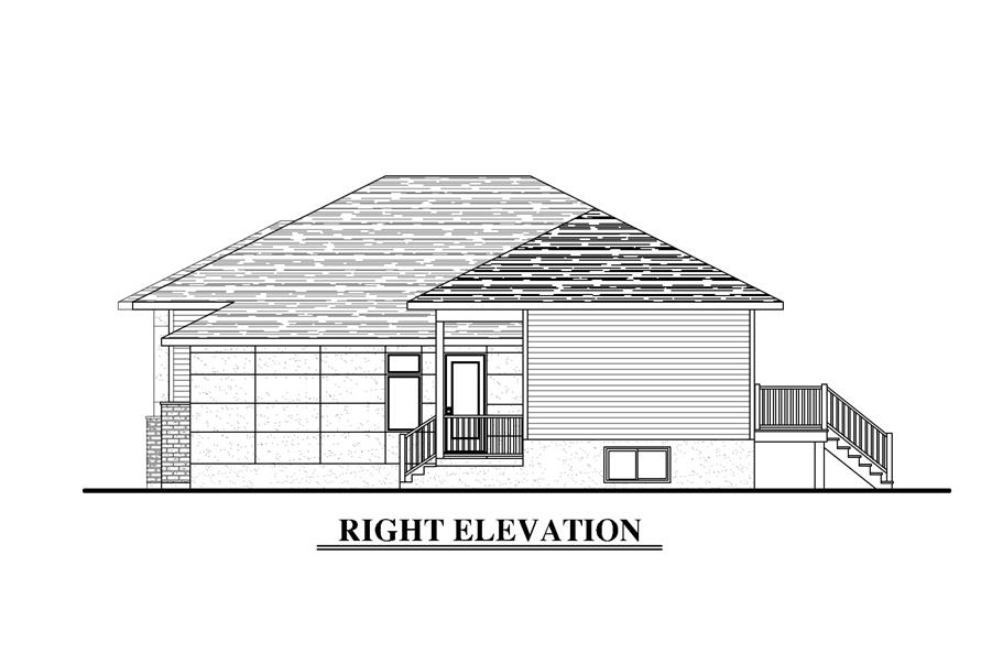 Home Plan Right Elevation of this 6-Bedroom,3318 Sq Ft Plan -158-1283