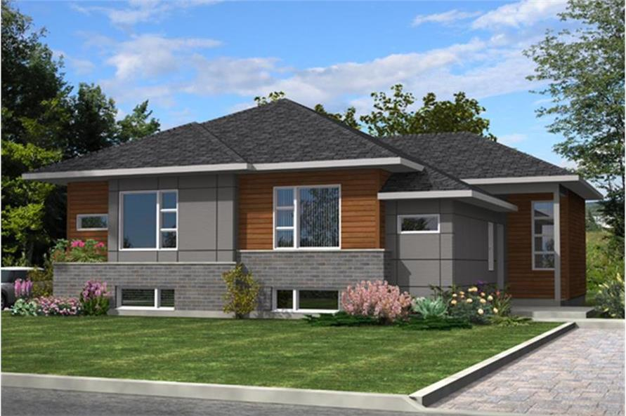 Color rendering of Contemporary home plan (ThePlanCollection: House Plan #158-1283)
