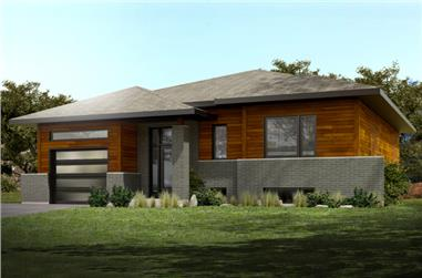 2-Bedroom, 1232 Sq Ft Contemporary House Plan - 158-1285 - Front Exterior