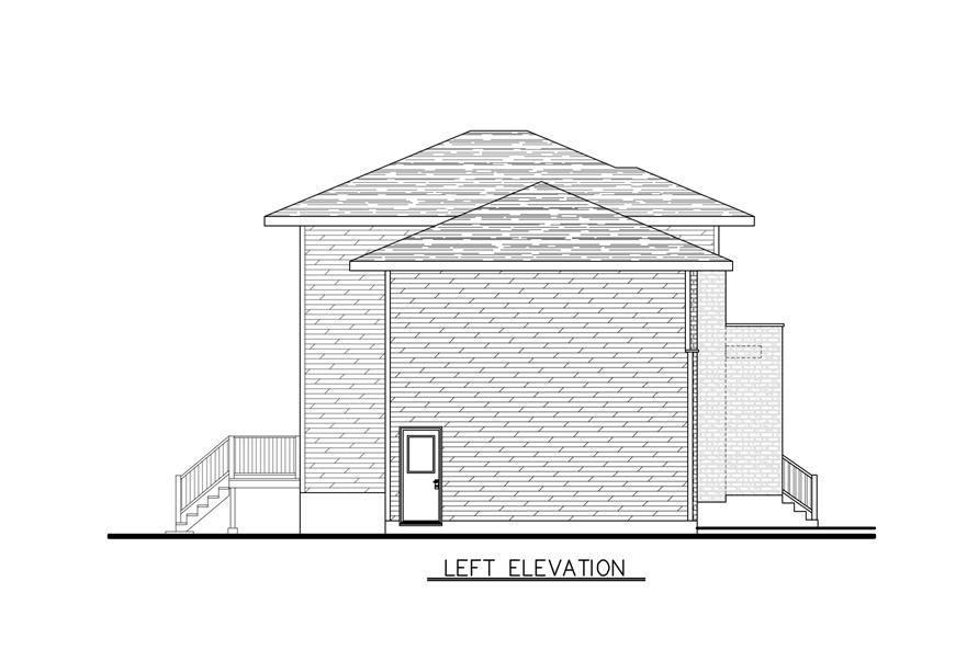 Home Plan Left Elevation of this 3-Bedroom,1394 Sq Ft Plan -158-1286