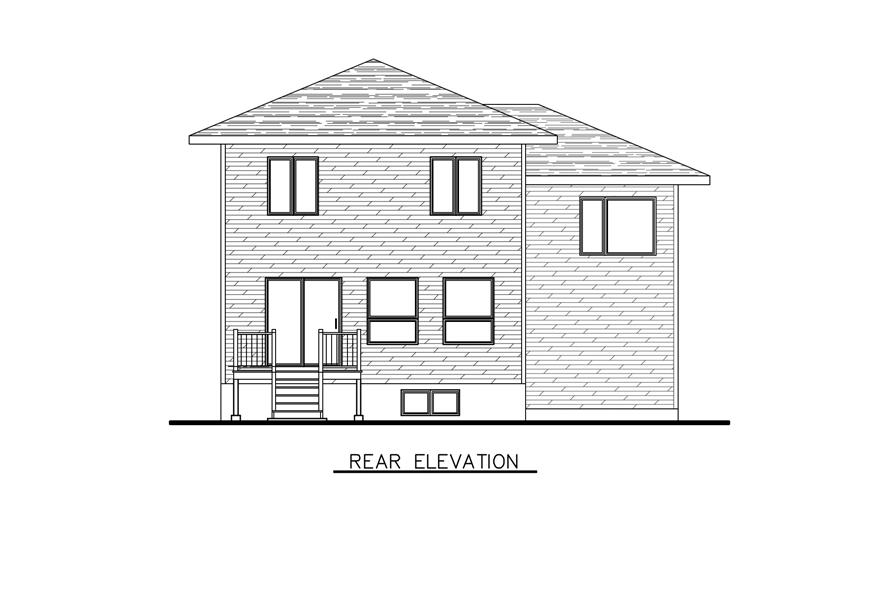 Home Plan Rear Elevation of this 3-Bedroom,1394 Sq Ft Plan -158-1286