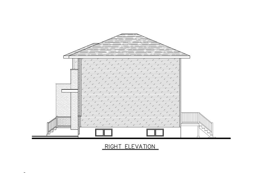 Home Plan Right Elevation of this 3-Bedroom,1394 Sq Ft Plan -158-1286
