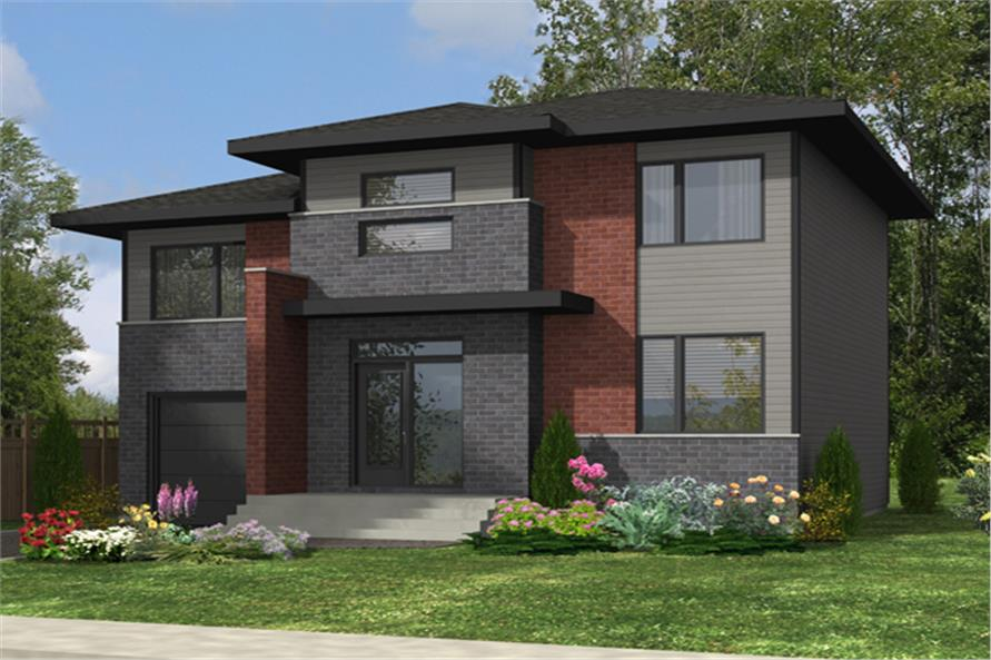 3-Bedroom, 1394 Sq Ft Contemporary House Plan - 158-1286 - Front Exterior