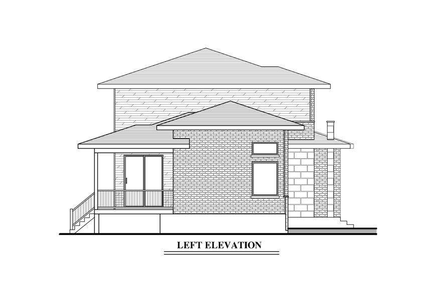 Home Plan Left Elevation of this 3-Bedroom,1668 Sq Ft Plan -158-1287