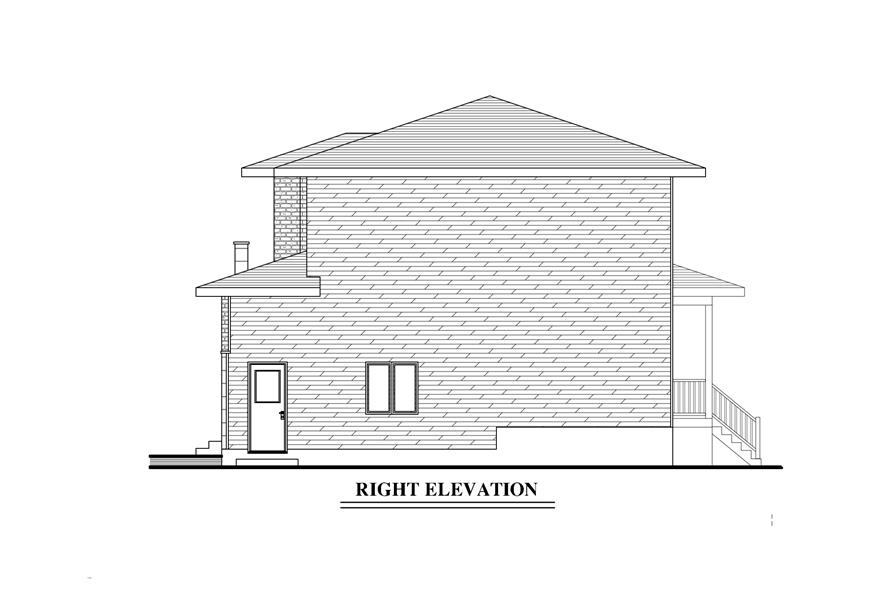 Home Plan Right Elevation of this 3-Bedroom,1668 Sq Ft Plan -158-1287