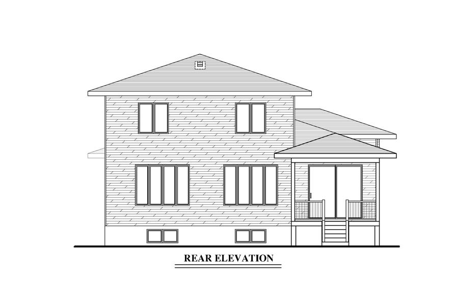 158-1287: Home Plan Rear Elevation