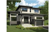 Front elevation of Contemporary home (ThePlanCollection: House Plan #158-1287)