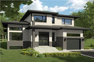 3-Bedroom, 1668 Sq Ft Contemporary House Plan - 158-1287 - Front Exterior