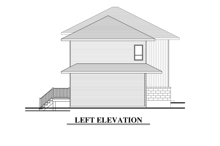 Home Plan Left Elevation of this 3-Bedroom,1480 Sq Ft Plan -158-1288