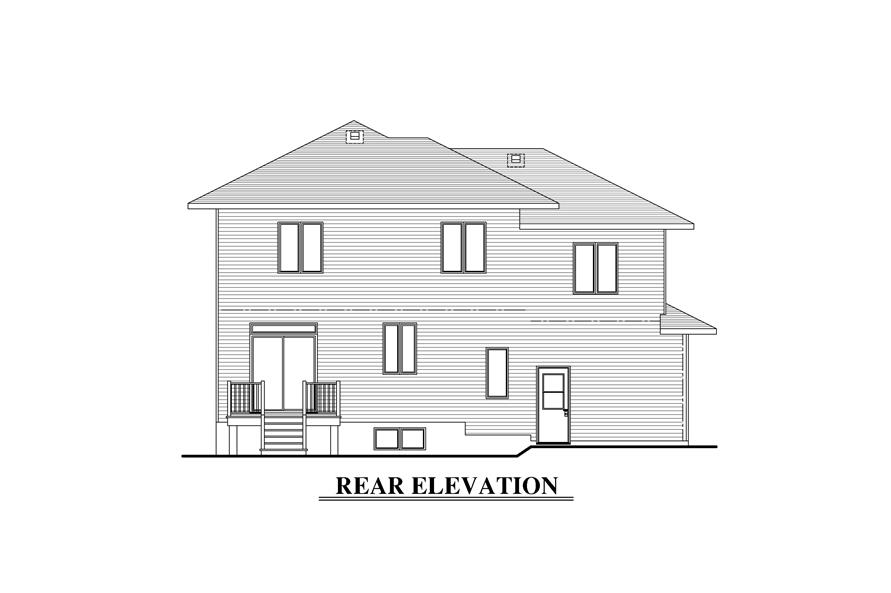 Home Plan Rear Elevation of this 3-Bedroom,1480 Sq Ft Plan -158-1288