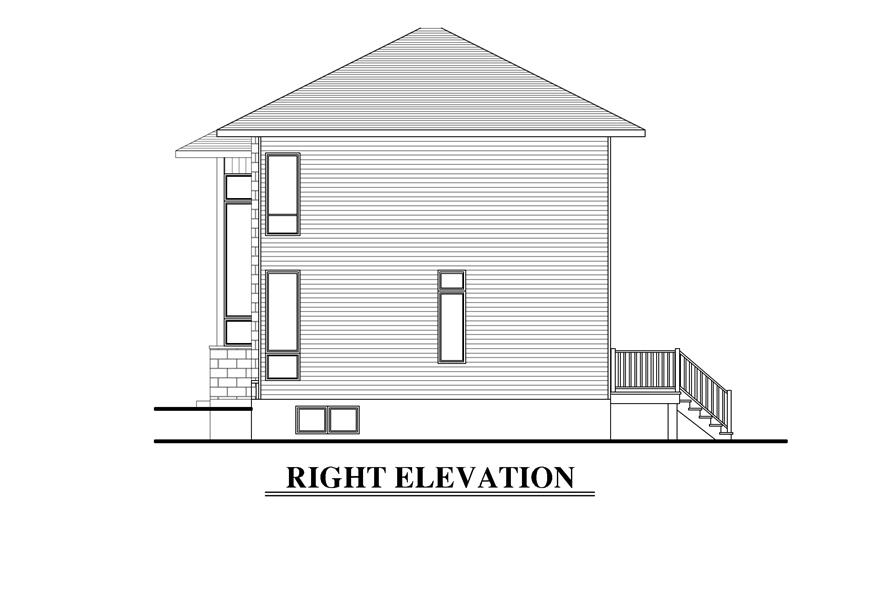 Home Plan Right Elevation of this 3-Bedroom,1480 Sq Ft Plan -158-1288