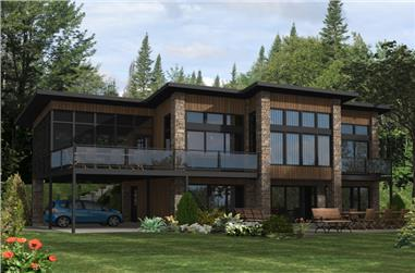 Front elevation of Contemporary home (ThePlanCollection: House Plan #158-1289)