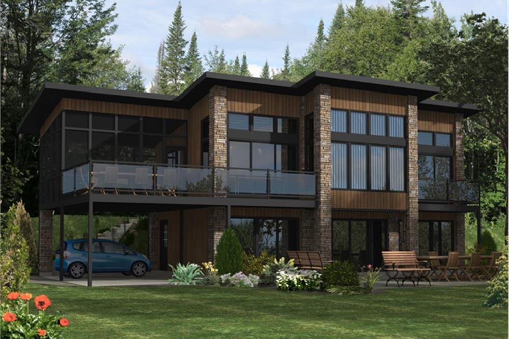 Color rendering of Modern home plan (ThePlanCollection: House Plan #158-1289)