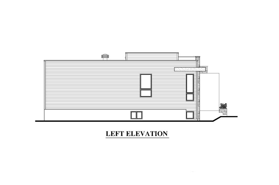 Home Plan Left Elevation of this 2-Bedroom,1277 Sq Ft Plan -158-1290