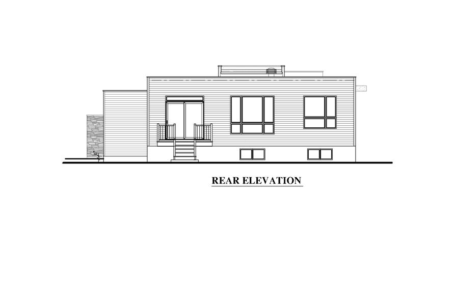 158-1290: Home Plan Rear Elevation