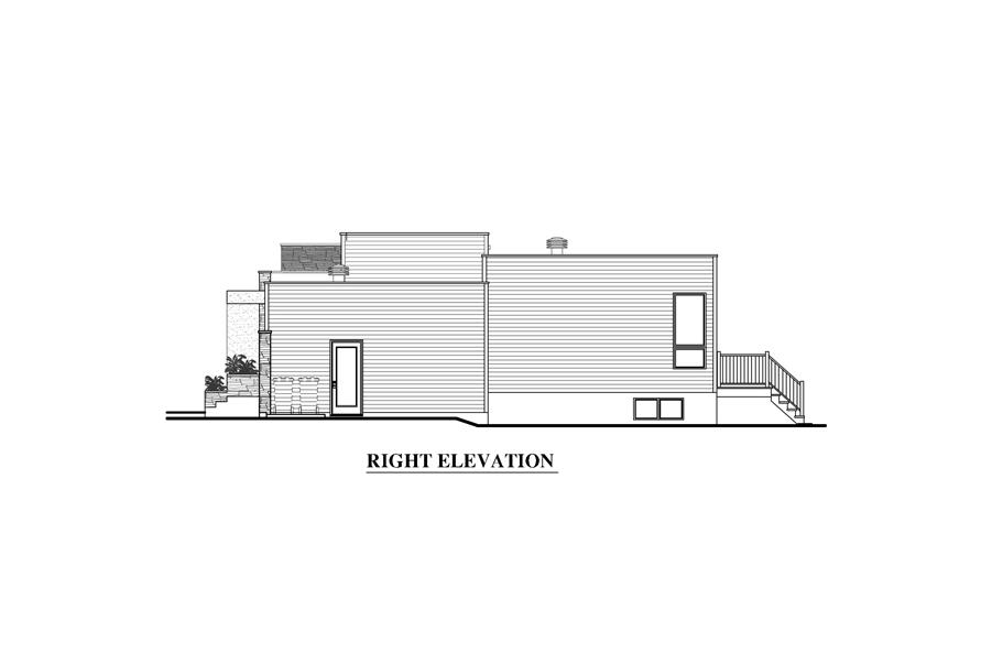 Home Plan Right Elevation of this 2-Bedroom,1277 Sq Ft Plan -158-1290