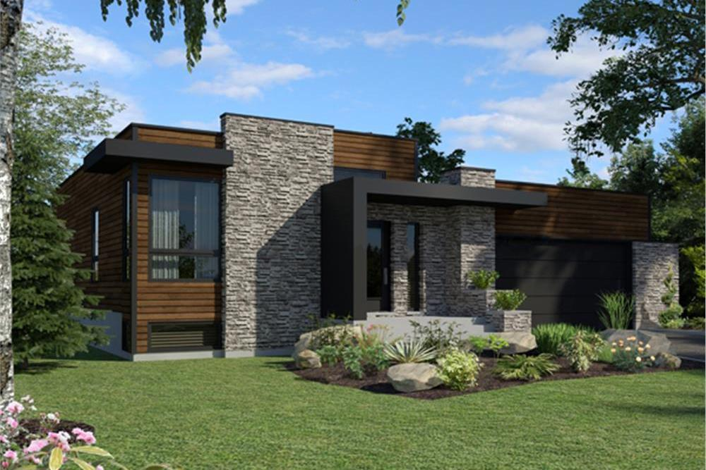Modern style home plan (ThePlanCollection: House Plan #158-1290)