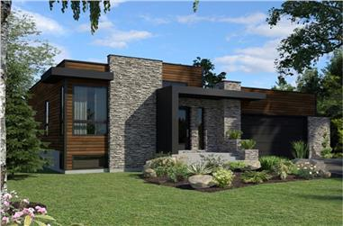2-Bedroom, 1277 Sq Ft Modern Home Plan - 158-1290 - Main Exterior