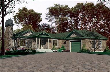 3-Bedroom, 1333 Sq Ft Bungalow House Plan - 158-1291 - Front Exterior
