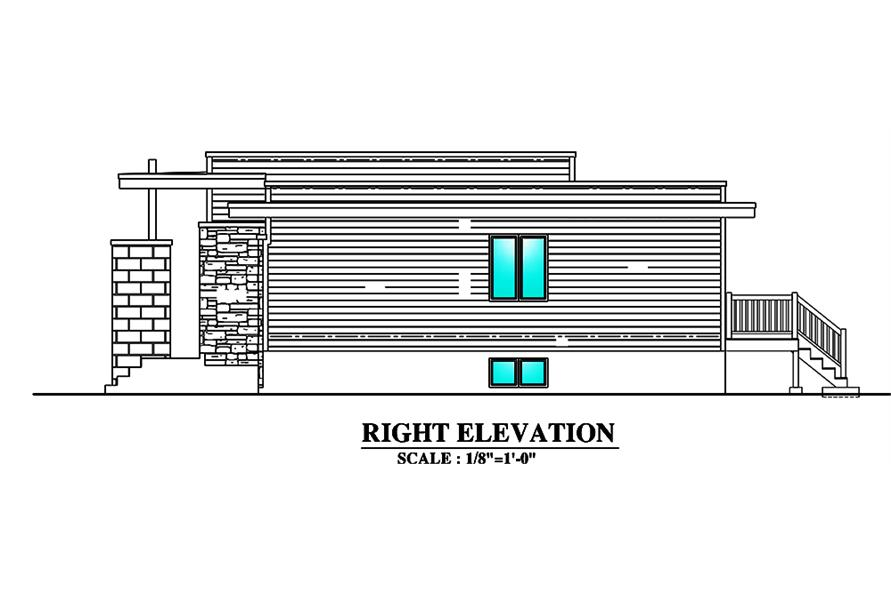 Home Plan Right Elevation of this 3-Bedroom,1180 Sq Ft Plan -158-1298