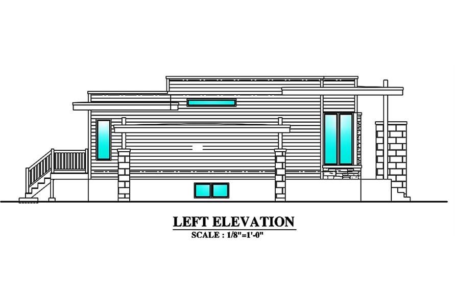 Home Plan Left Elevation of this 3-Bedroom,1180 Sq Ft Plan -158-1298