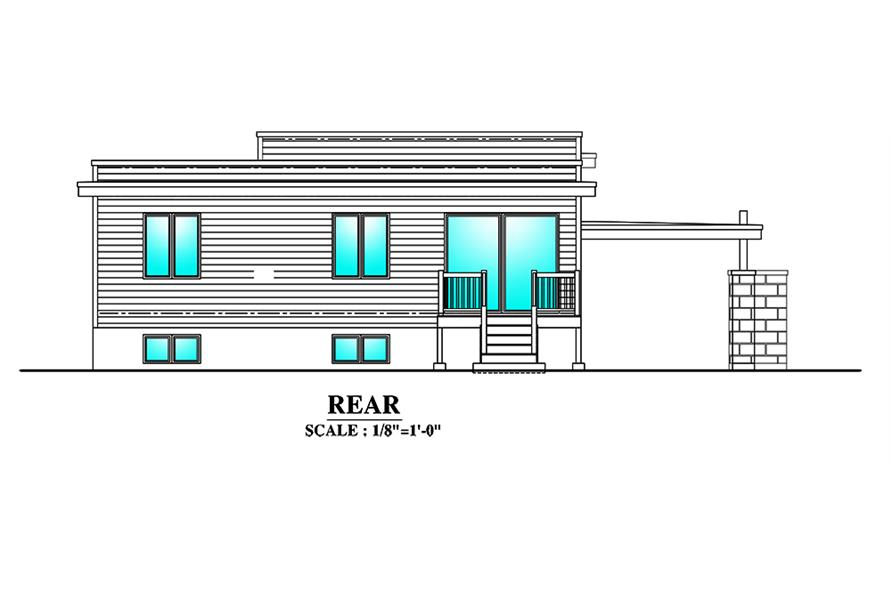 Home Plan Rear Elevation of this 3-Bedroom,1180 Sq Ft Plan -158-1298