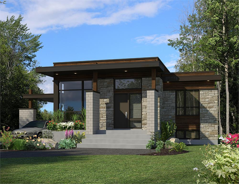 Front elevation of Modern home (ThePlanCollection: House Plan #158-1298)