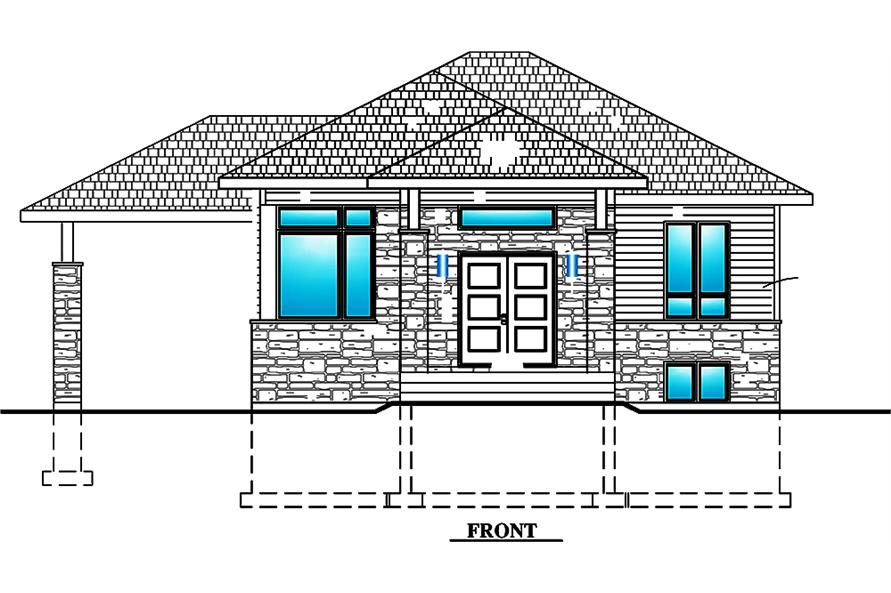 Home Plan Front Elevation of this 2-Bedroom,938 Sq Ft Plan -158-1299