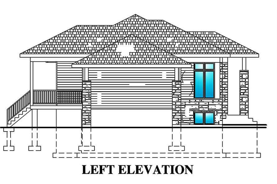 Home Plan Left Elevation of this 2-Bedroom,938 Sq Ft Plan -158-1299
