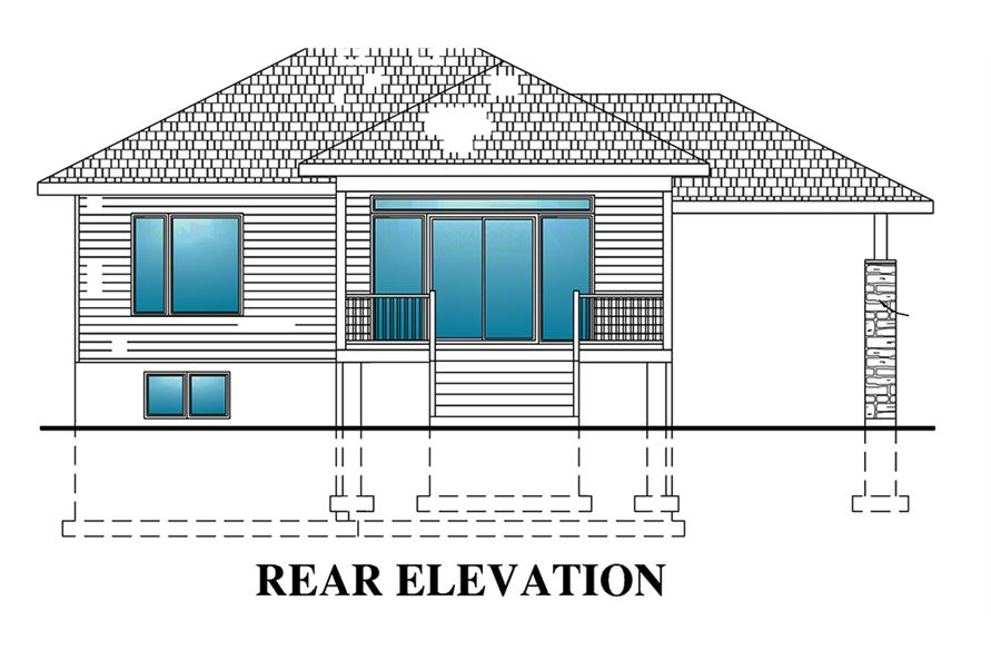 Home Plan Rear Elevation of this 2-Bedroom,938 Sq Ft Plan -158-1299