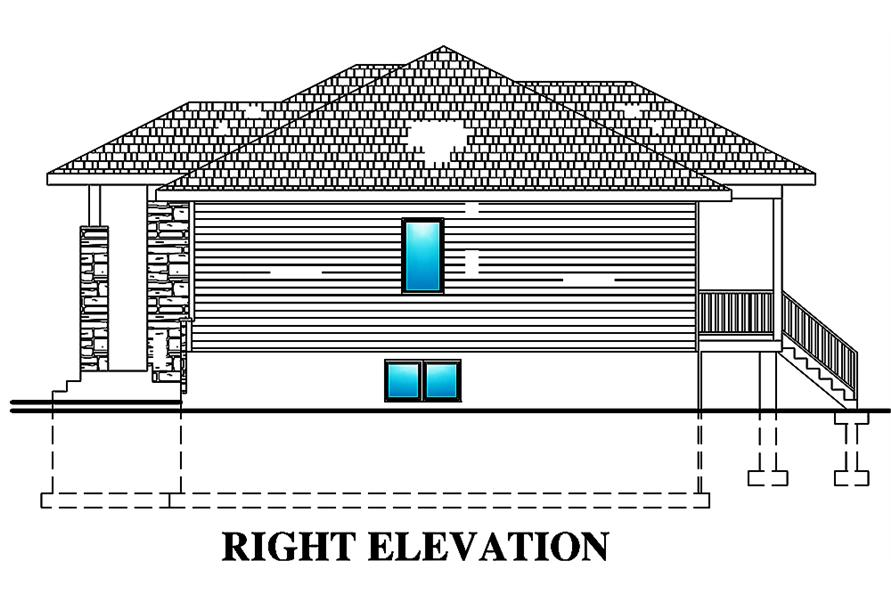 Home Plan Right Elevation of this 2-Bedroom,938 Sq Ft Plan -158-1299