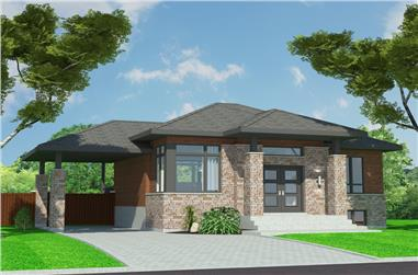 Front elevation of Bungalow home (ThePlanCollection: House Plan #158-1299)