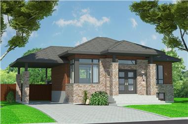 2-Bedroom, 938 Sq Ft Bungalow House Plan - 158-1299 - Front Exterior
