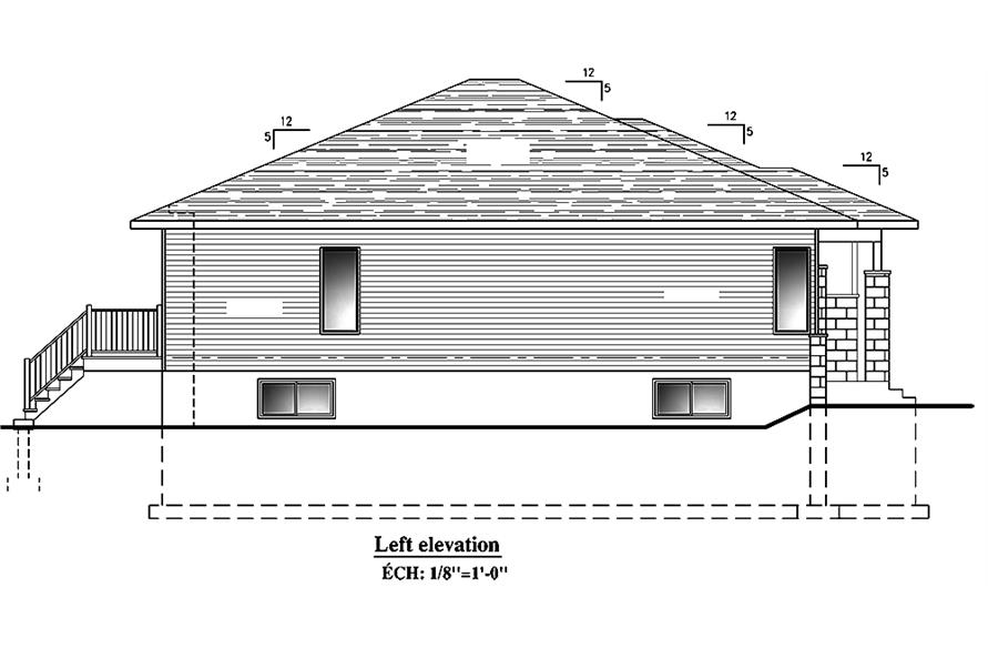 Home Plan Left Elevation of this 2-Bedroom,1325 Sq Ft Plan -158-1300