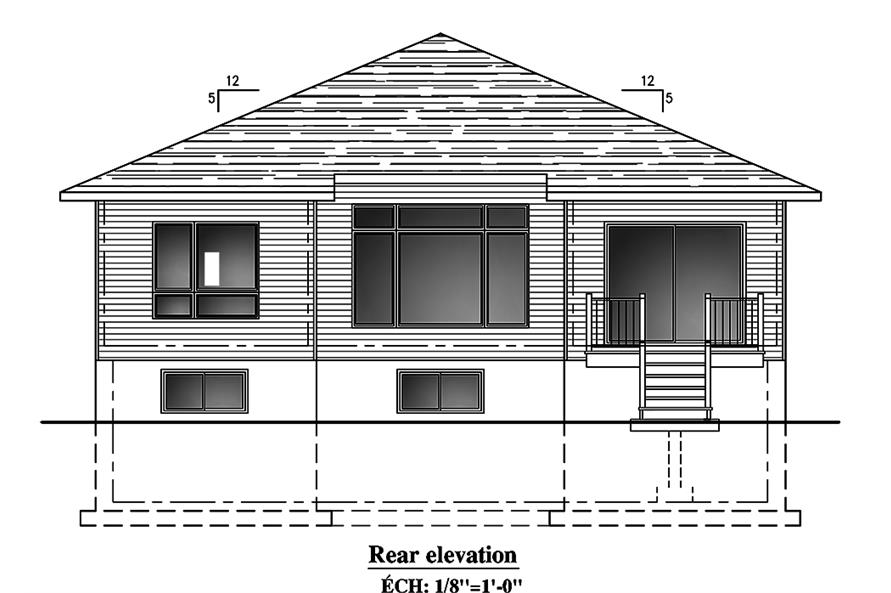 Home Plan Rear Elevation of this 2-Bedroom,1325 Sq Ft Plan -158-1300