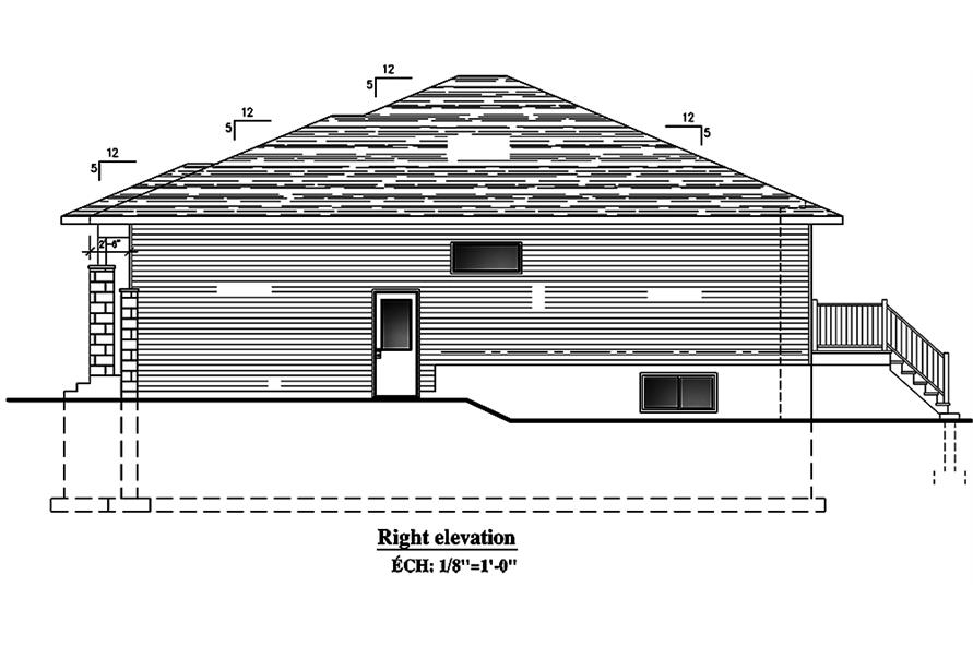 Home Plan Right Elevation of this 2-Bedroom,1325 Sq Ft Plan -158-1300