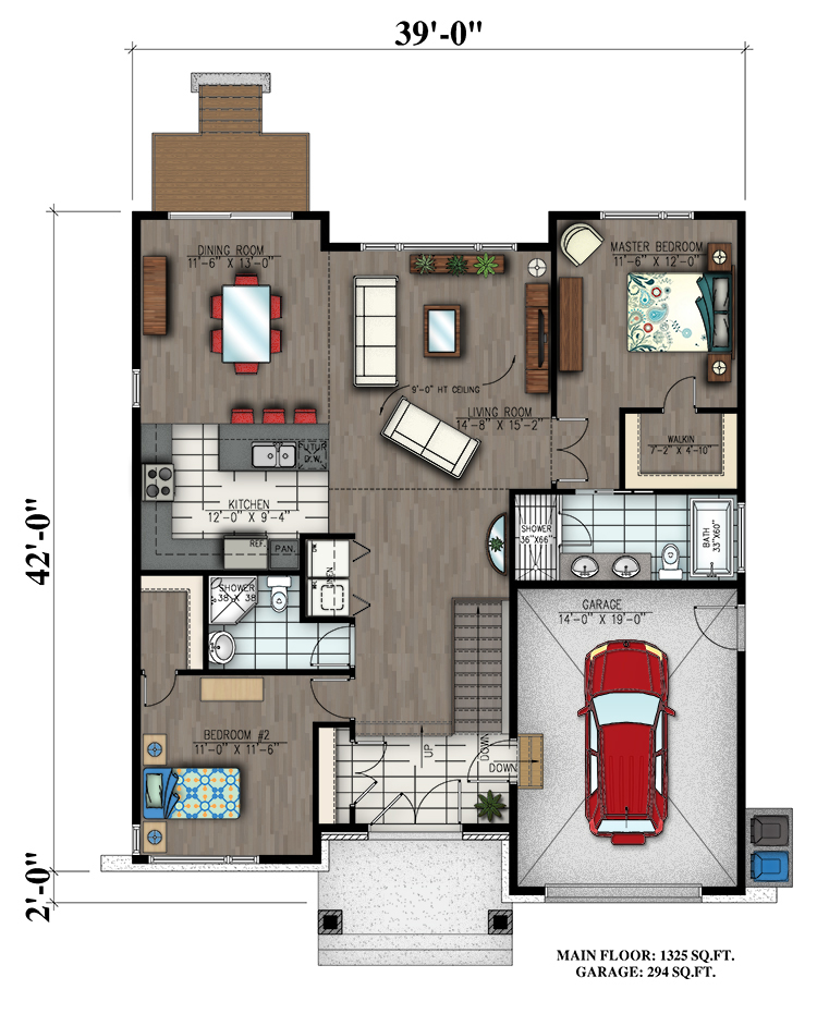 2 bedrm 1325 sq ft bungalow house plan 158 1300 for 1300 sq ft house plans 2 story