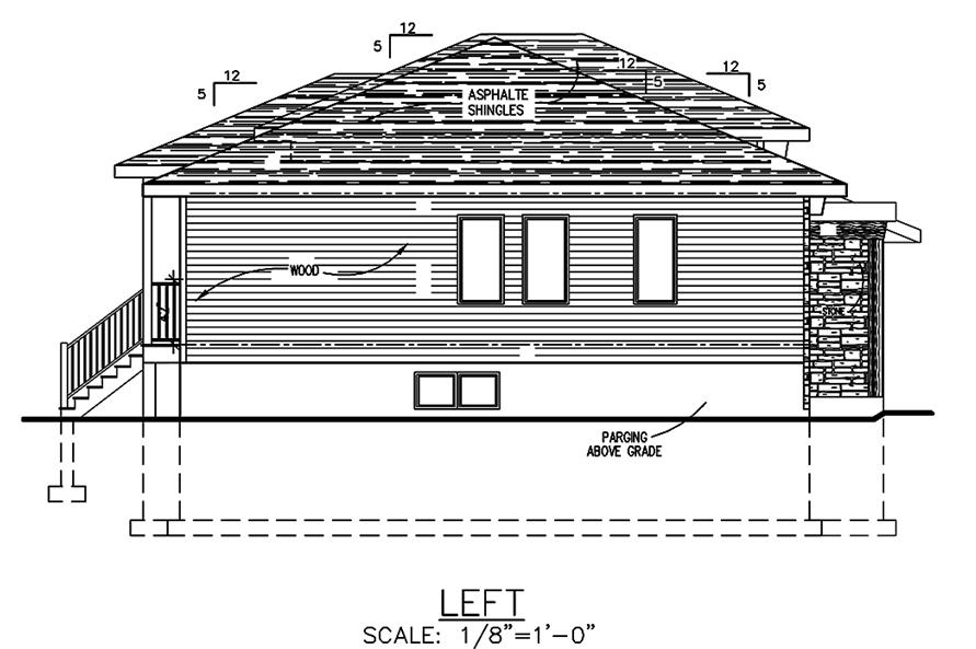 Home Plan Left Elevation of this 2-Bedroom,1013 Sq Ft Plan -158-1301