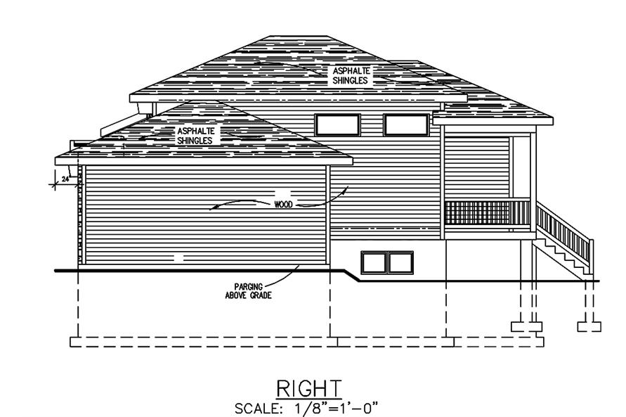 Home Plan Right Elevation of this 2-Bedroom,1013 Sq Ft Plan -158-1301