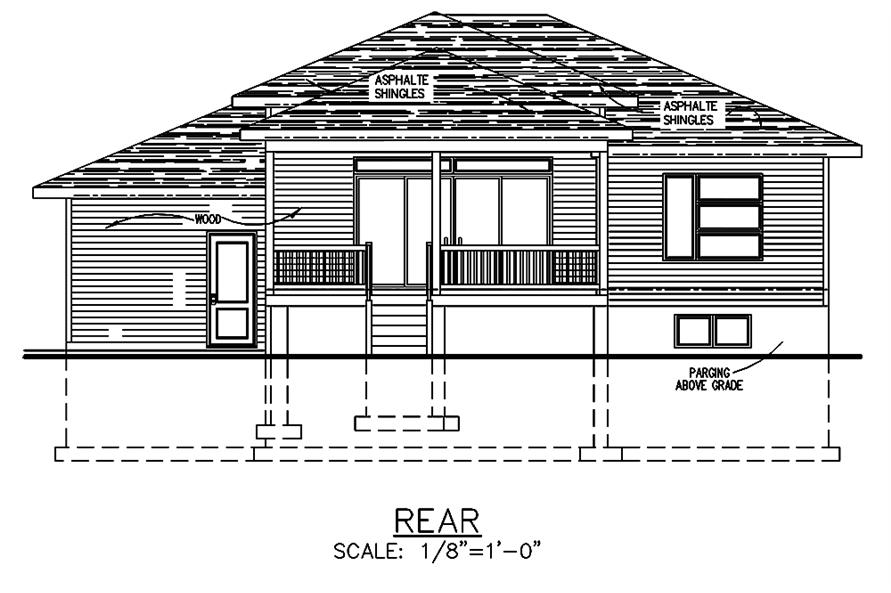 Home Plan Rear Elevation of this 2-Bedroom,1013 Sq Ft Plan -158-1301