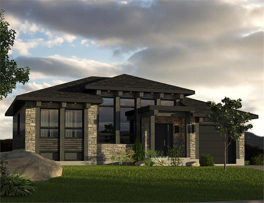 Front elevation of contemporary Prairie home (ThePlanCollection: House Plan #158-1301)